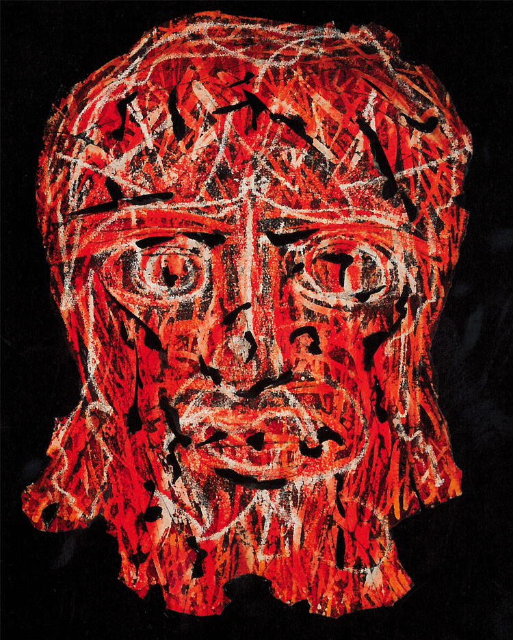 Primarily red painting of the head of christ by Alfonso Ossorio