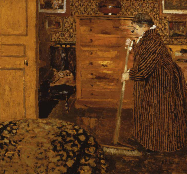 painting of a woman sweeping a bedroom