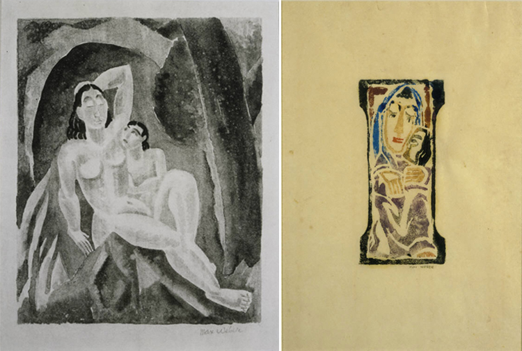 Two different works called Mother and Child by artist Max Weber