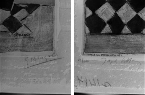 Signatures of Braque, left and Villon, right.