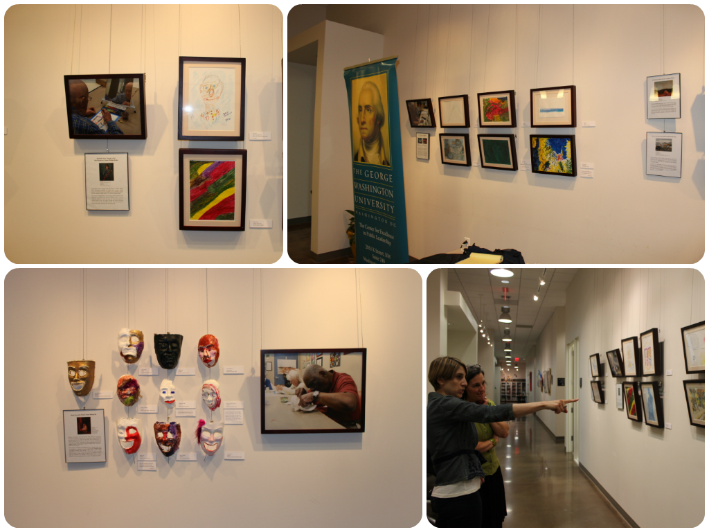 Installation of Creative Aging exhibition at GW's Alexandria campus. Photos: Margaret Collerd.