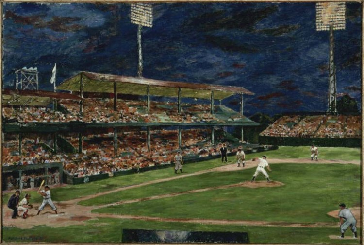 Marjorie Phillips, Night Baseball, 1951. Oil on canvas, 24 1/4 x 36 in. The Phillips Collection, Washington, D.C. Gift of the artist, 1951 or 1952