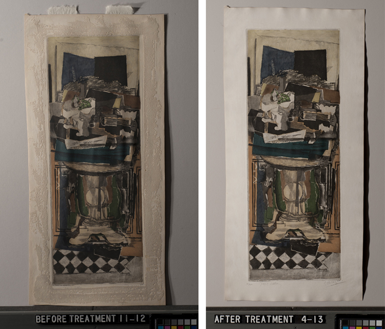 Studio Table before treatment, left, and after treatment, right.