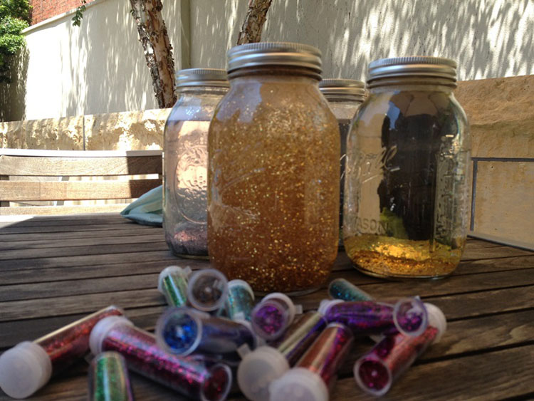Mind jars awaiting new friends in the Phillips' Courtyard.