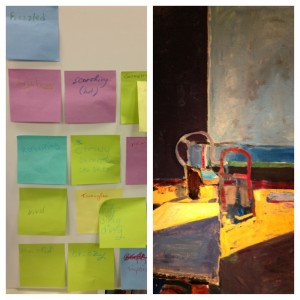 Left: The Post-it poem in progress. Right: Richard Diebenkorn, Interior with View of Ocean (detail), 1957. Photos: Rachel Goldberg