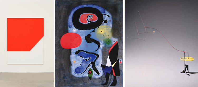 Image of works by Ellsworth Kelly, Joan Miro, and Alexander Calder