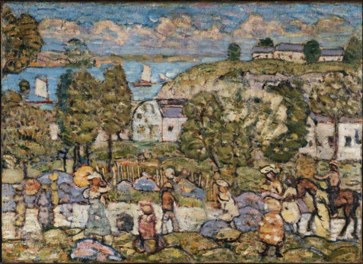 Maurice Prendergast, Landscape Near Nahant, c. 1908-c. 1912. Oil on canvas, 20 1/4 x 27 7/8 in. The Phillips Collection, Washington, D.C. Acquired 1922.