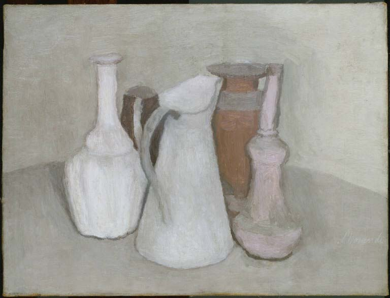 Giorgio Morandi, Still Life, 1950. Oil on canvas, 14 1/8 x 18 5/8 in. (35.9 x 47.3 cm). The Phillips Collection, Washington, D.C., Acquired 1957.