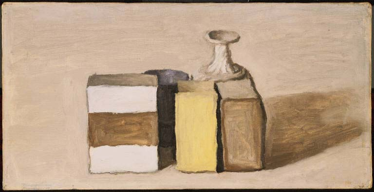 Giorgio Morandi, Still Life, 1953. Oil on canvas, 8 x 15 7/8 in.(20.3 x 40.3 cm). The Phillips Collection, Washington, D.C., Acquired 1954.
