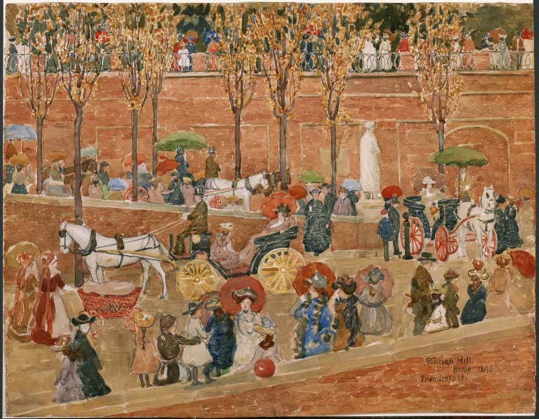 Maurice Prendergast, Pincian Hill, Rome, 1898. Watercolor over graphite pencil underdrawing on thick, medium-textured, off-white watercolor paper, 21 x 27 in. (53.34 x 68.58 cm). The Phillips Collection, Washington, D.C., Acquired 1920.