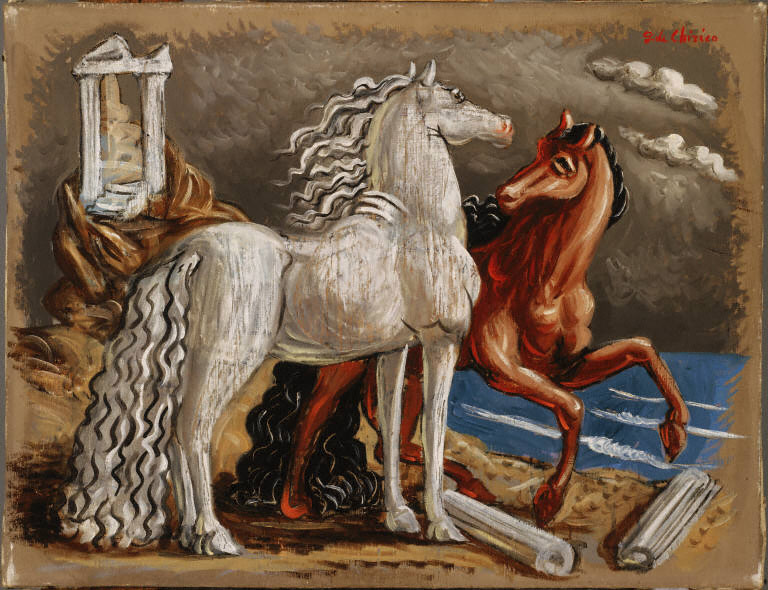 Giorgio de Chirico, Horses, c. 1928. Oil on canvas, 19 3/4 x 25 5/8 in. (50.2 x 65 cm). The Phillips Collection, Washington, D.C., Acquired 1929.