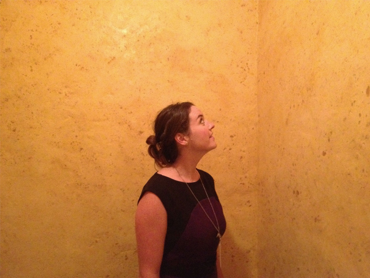 Young woman standing in Wolfgang Laib's Wax Room at the Phillips