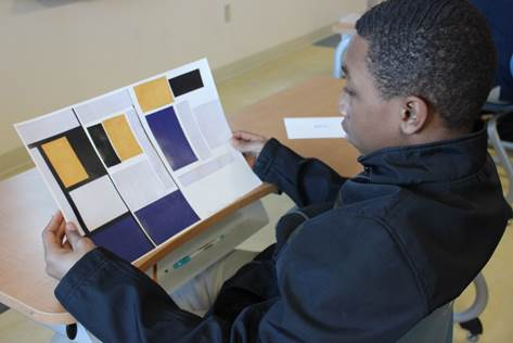 Middle school students at Takoma Education Campus applied Mathematical concepts to Piet Mondrian's Composition No. III.