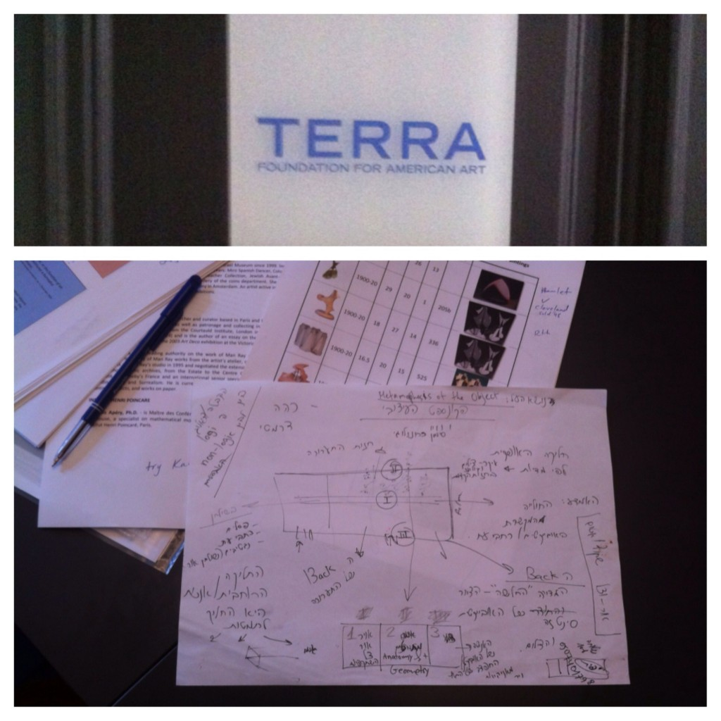 For the first day, we met at the Terra Foundation's Paris office. Below is photo of an initial exhibition design by our colleagues in Israel. Photos: Brooke Rosenblatt