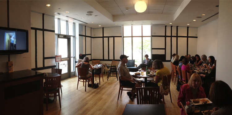 Panorama of Tryst at the Phillips Cafe as the walls are being painted