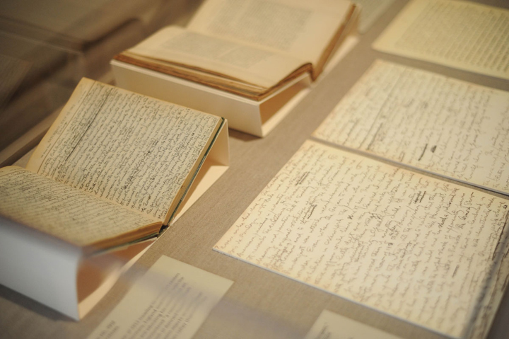 Journals and manuscripts written by Duncan Phillips on display as part of the exhibition, History in the Making: 100 Years After the Armory Show. Photos: Joshua Navarro