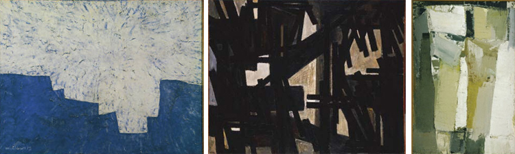 (Left to right) Serge Poliakoff, Composition, 1957, Tempera on plywood panel 34 7/8 x 45 1/2 in.; 88.5825 x 115.57 cm.. Acquired 1959.; Pierre Soulages,  July 10, 1950, 1950, Oil on canvas 51 1/4 x 63 5/8 in.; 130.175 x 161.6075 cm.. Acquired 1951; Olivier Debré, Cliffs, 1955, Oil on canvas 57 1/2 x 38 1/2 in.; 146.05 x 97.79 cm.. Acquired 1959.