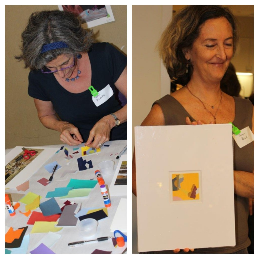 One participant absorbed in her work, while another displays her masterpiece! Photos: Caitlin Brague