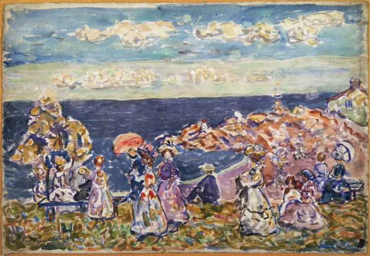 Maurice Prendergast, On the Beach, ca. 1907-1909. Watercolor and pencil on paper, 14 1/2 x 21 1/2 in. (36.83 x 54.61 cm). The Phillips Collection, Washington D.C., Acquired 1926.