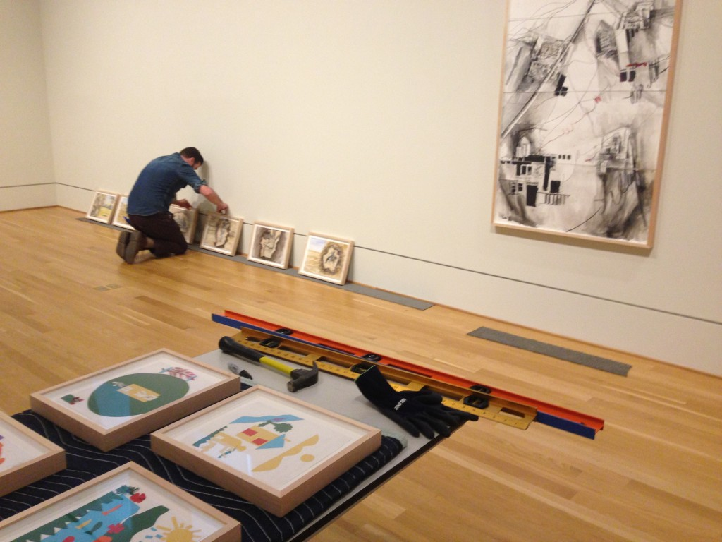 Laying out the exhibition. Photo: Rachel Goldberg