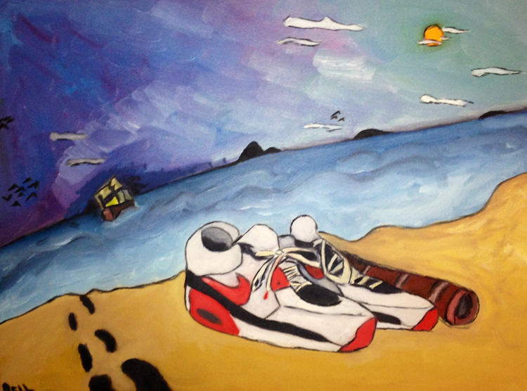Laurel Simon, AirMax: left.for.dead, 2013, Oil on canvas