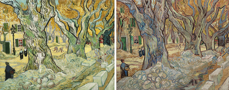 Left: Vincent van Gogh, The Road Menders, 1889. Oil on canvas, 29 x 36 1/2 in. The Phillips Collection, Washington, DC. Acquired 1949. Right: Vincent van Gogh, The Large Plane Trees (Road Menders at Saint-Rémy), 1889. Oil on fabric, 28 7/8 x 36 1/8 in. The Cleveland Museum of Art. Gift of the Hanna Fund, 1947.