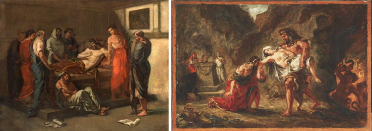 Comparison of two side by side works by Eugene Delacroix