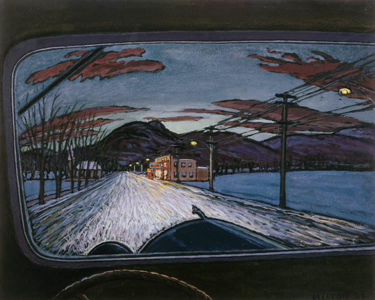 Harold Weston, Going Home, 1939, Gouache on blue-black paper 15 5/8 x 19 5/8 in.; 39.6875 x 49.8475 cm.. Acquisition date unknown. The Phillips Collection, Washington D.C.
