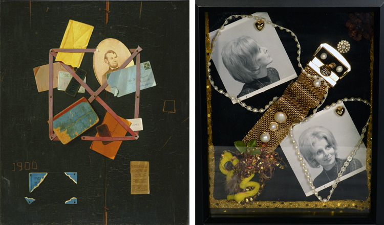 (Left) John Frederick Peto, Old Time Card Rack, 1900. Oil on canvas, 30 x 25 in. Acquired 1939. The Phillips Collection. (Right) Susan Meyers, Momma—Earlier Days, 2013. Mixed Media.