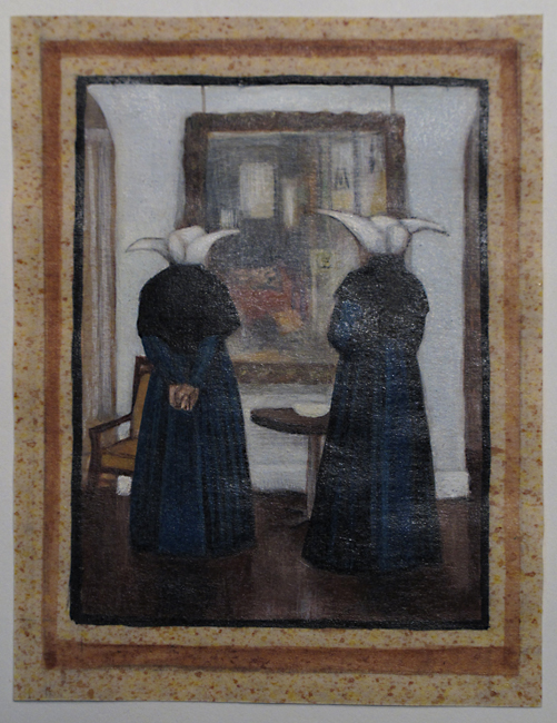 A plate from Arthur's handmade book for the Phillipses showing visiting nuns admiring Matisse's Studio, Quai Saint-Michel, 1916.