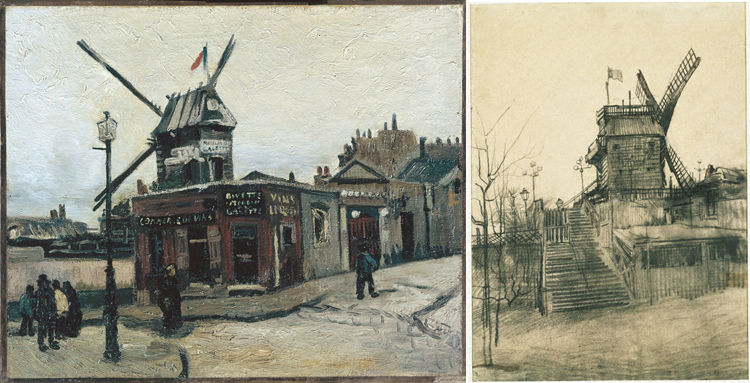 (Right) 2)Vincent van Gogh, Le Moulin de la Galette, 1886. Oil on canvas, 15 x 18 1/4 in. Nationalgalerie, Staatliche Museen, Berlin, Germany. (Left) Vincent van Gogh, Moulin de la Galette, 1887, Pencil and ink on paper 21 1/4 x 15 5/8 in.; 53.975 x 39.6875 cm.. Acquired 1953. The Phillips Collection, Washington DC.