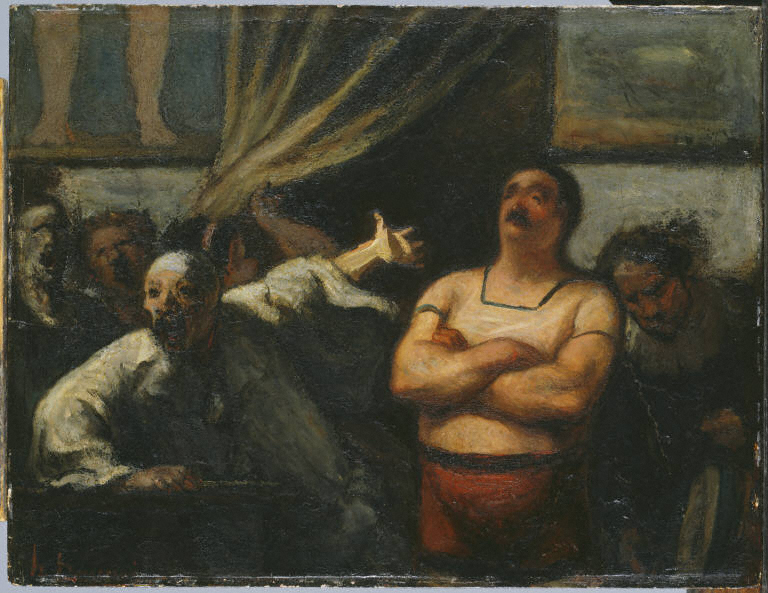 "Honoré Daumier, ""The Strongman"", c. 1865, oil on wood panel, 10-5/8"" x 13-7/8"", Acquired 1928"