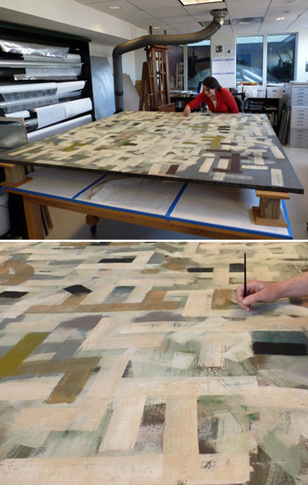 "Setting down raised cracks and consolidating insecure paint on ""No. 9"" by Bradley Walker Tomlin. Top: The painting is raised on blocks and a suction apparatus is placed behind the canvas to aid in consolidation and drying. Bottom: Adhesive is wicked into the paint cracks using a small brush. Suction from the reverse helps pull the adhesive into the cracks as well as to pull lifting paint into plane as the adhesive dries."