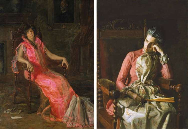 (Left) Thomas Eakins, An Actress (Portrait of Suzanne Santje), 1903, Oil on canvas, 79 3/4 x 59 7/8 inches (202.6 x 152.1 cm), Gift of Mrs. Thomas Eakins and Miss Mary Adeline Williams, 1929. The Philadelphia Museum of Art. (Right) Thomas Eakins, Miss Amelia Van Buren, ca. 1891, Oil on canvas 45 x 32 in.; 114.3 x 81.28 cm. Acquired 1927. The Phillips Collection, Washington DC.