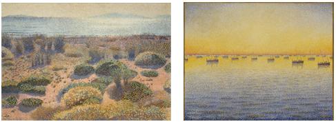(Left) Henri-Edmond Cross,  Plage de la Vignasse, les Iles d'Or, 1891-1892, huile sur toile. 65,5 x 92,2 cm. © MuMa Le Havre / David Fogel