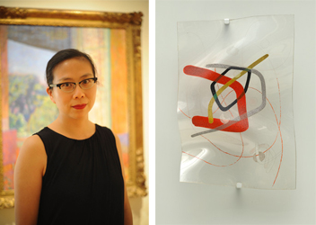 (Left) Joyce Tsai, Photo: Joshua Navarro. (Right) László Moholy-Nagy, B-10 Space Modulator, 1942. Oil on incised and molded Plexiglas, mounted with chromium clamps on painted plywood, Plexiglas: 17 3/4 × 12 inches (45.1 × 30.5 cm). Solomon R. Guggenheim Museum, New York, Solomon R. Guggenheim Founding Collection 47.1063 © 2014 Artists Rights Society (ARS), New York / VG Bild-Kunst, Bonn.