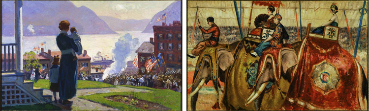 Two paintings by Gifford Beal that, at one time, shared a stretcher. (Left) On the Hudson at Newburgh, 1918, Oil on canvas 36 x 58 1/2 in.; 91.44 x 148.59 cm.. Estate of Gifford Beal, courtesy of Kraushaar Galleries. (Right) Parade of Elephants, 1924, Oil on canvas 36 1/8 x 58 5/8 in.; 91.7575 x 148.9075 cm.. Acquired 1924.