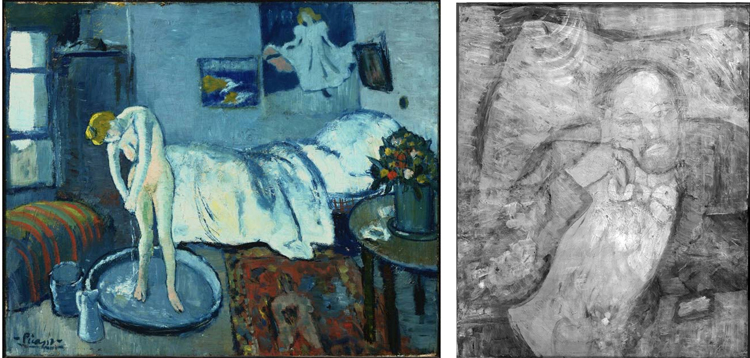 (Left) Pablo Picasso, The Blue Room, 1901, Oil on canvas 19 7/8 x 24 1/4 in.; 50.4825 x 61.595 cm. Acquired 1927. (Right) Infrared of Pablo Picasso's The Blue Room (1901). The Phillips Collection, copyright 2008.