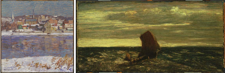 (Left) Robert Spencer, Across the Delaware, ca. 1916, Oil on canvas 14 x 14 in.; 35.56 x 35.56 cm.. Acquired by 1921, probably 1917. (Right) Albert Pinkham Ryder, Homeward Bound, ca. 1893-ca. 1894, Oil on canvas mounted on wood panel 8 7/8 x 18 in.; 22.5425 x 45.72 cm.. Acquired 1921.