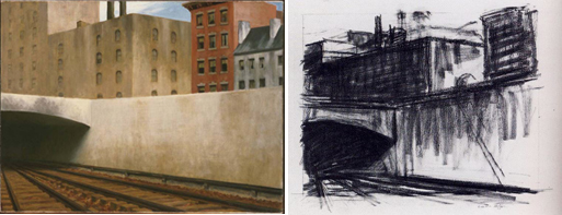 (Left) Edward Hopper, Sunday, 1926, Oil on canvas 29 x 34 in.; 73.66 x 86.36 cm. Acquired 1926. Paintings, 0925, American. The Phillips Collection, Washington DC. (Right) Edward Hopper, Approaching a City, 1946, conte on paper, 15 1/16 c 22 1/8 in., Collection of Whitney Museum of American Art, New York; Bequest of Josephene N. Hopper, 70.869.
