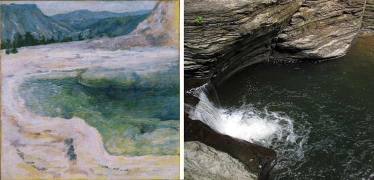 (Left) Twachtman, John Henry, The Emerald Pool, ca. 1895, Oil on canvas 25 x 25 in.; 63.5 x 63.5 cm.. Acquired 1921. The Phillips Collection, Washington DC. (Right) Photo by Sarah Osborne Bender