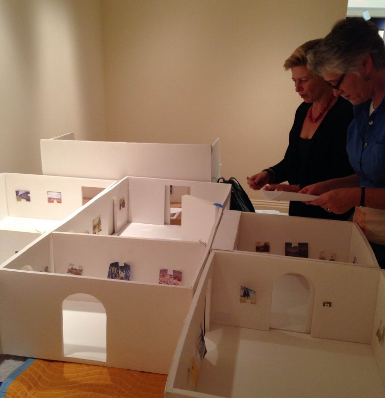 Guest Curator Cornelia Homburg and Associate Registrar Trish Waters go over the proposed layout of the exhibition.