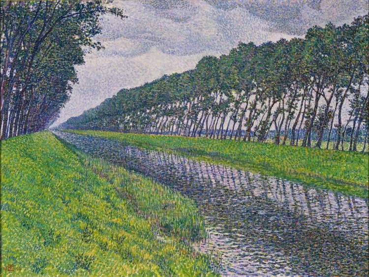 van Rysselberghe--Le canal en flandre par temps triste