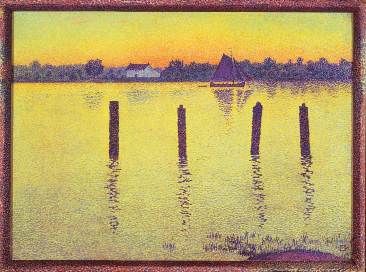 Theo van Rysselberghe, The Scheldt Upstream from Antwerp, Evening, 1892. Oil on canvas, 26 3/4 x 35 1/2 in. Collection of Bruce and Robbi Toll