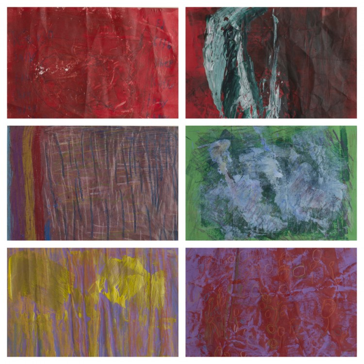 "(Top left) Patricia Abell, Family, 2014. Acrylic paint and oil pastel on construction paper. (Top right) Isom ""Ike"" Hunter, Untitled, 2014. Acrylic paint on construction paper. (Middle left) Mildered Howard, The Perfect Paint, 2014. Acrylic paint and oil pastel on construction paper. (Middle right) Alexander Tscherny, Untitled, 2014. Acrylic paint and oil pastel on construction paper. (Bottom left) Susan Morgan, Eye Opener, 2014. Acrylic paint and chalk pastel on construction paper. (Bottom right) Michael Schaff, People who know each other at a party, 2014. Acrylic paint and colored pencil on construction paper."