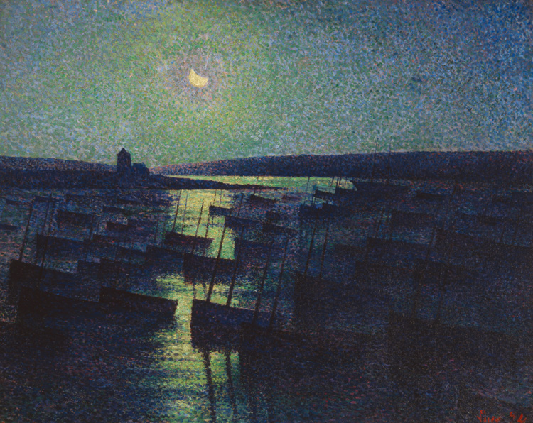 Camaret, Moonlight, and Fishing Boats, 1894. Oil on canvas. 28 1/2 x 36 1/4 in. (72.4 x 92.1 cm). Saint Louis Art Museum, Museum Purchase,  Museum Shop Fund, and funds given by Gary Wolff,  the Stephen F. Brauer and Camilla T. Brauer Charitable Trust,  the Pershing Charitable Trust, the Kate Stamper Wilhite  Charitable Foundation, the William Schmidt Charitable  Foundation, the John R. Goodall Charitable Trust,  Nooter Corporation, Eleanor C. Johnson, Mrs. Winifred Garber,  Hunter Engineering, the Joseph H. & Elizabeth E. Bascom  Charitable Foundation, the Stephen M. Boyd Fund, Robert  Brookings Smith, Irma Haeseler Bequest, BSI Constructors  Inc., Mr. and Mrs. Thomas Latzer, Samuel C. Davis Jr., Dr.  and Mrs. William H. Danforth, Mr. and Mrs. George Conant,  Mr. and Mrs. Michael Cramer, Dr. and Mrs. David M. Kipnis,  Mr. and Mrs. John O'Connell, Edith B. Schiele, and donors  to the Art Enrichment Fund, 29:1998