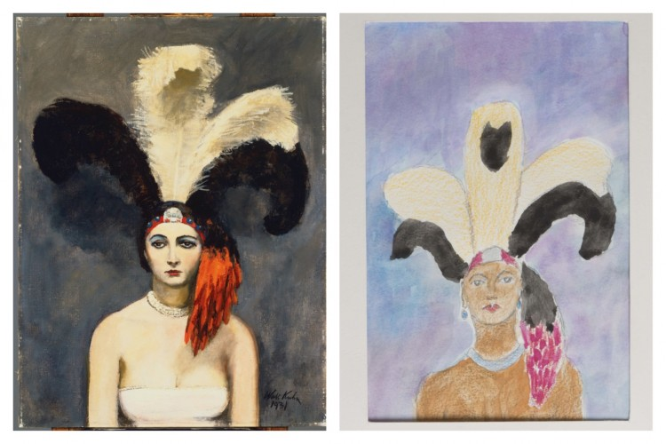 "(Left) Walt Kuhn, Plumes, oil on canvas, 40 x 30 in. Acquired 1932. The Phillips Collection, Washington, DC. (Right) Marion ""Duke"" Green, Untitled, 2014. Watercolor and colored pencil on paper."