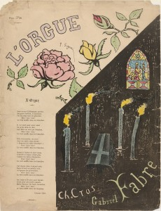 Paul Signac, L'Orgue, Cover design for the composition by Gabriel Fabre on a poem by Charles Cros, 1893. Lithograph with watercolor additions, 14 1/4 x 11 in. Gift of John Rewald. The Museum of Modern Art, New York. © 2014 Artists Rights Society (ARS), New York / ADAGP, Paris
