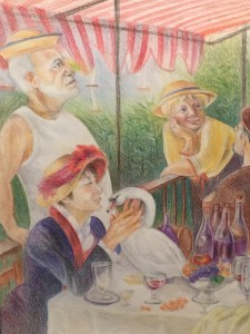 Sue Ahn, The Luncheon of the TPC party (detail), 2014, color pencil