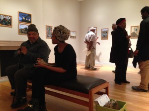 Students and elders discuss Jacob Lawrence's The Migration Series. Photo: Andrea Kim Taylor